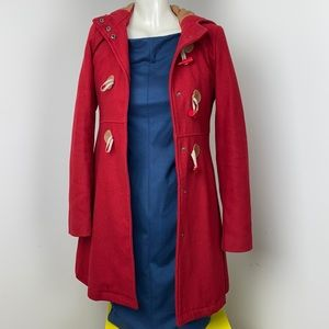 Kimchi Blue/Urban Outfitters Red Wool Blend Hooded Coat Size XS